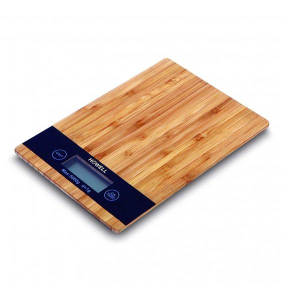Howell HO.HBC159T Bilancia Cucina Digitale Elettronica con Tagliere Legno 5 Kg